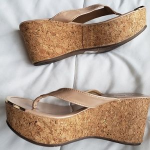 Shoes - Womens wedges with gold trim in size 8.